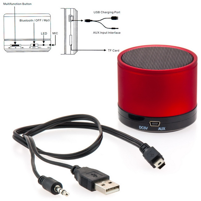 bluetooth lautsprecher f r medion lifetab wireless wifi speaker rot akku boxen ebay. Black Bedroom Furniture Sets. Home Design Ideas