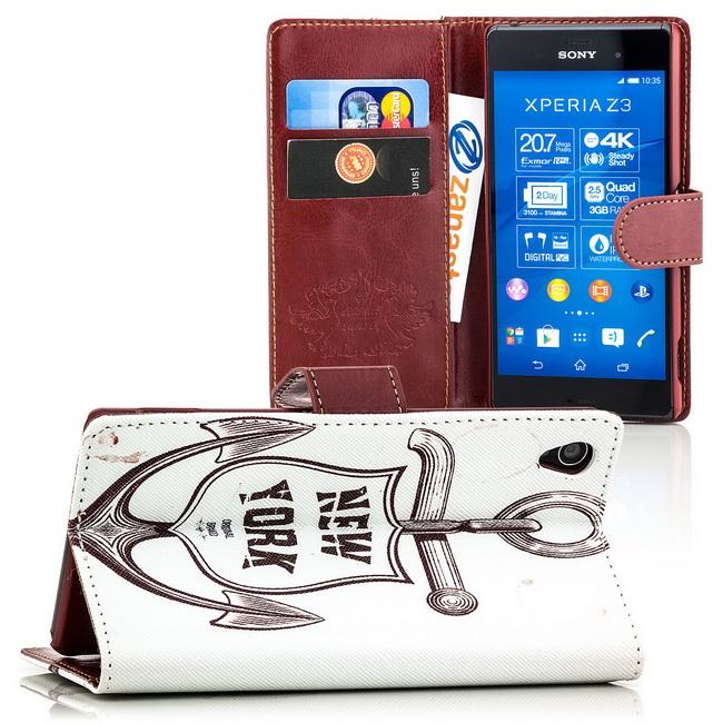 Flip Case für Sony Xperia Z3 Cover Schutz Hülle Etui Handy Tasche Bumper Schale